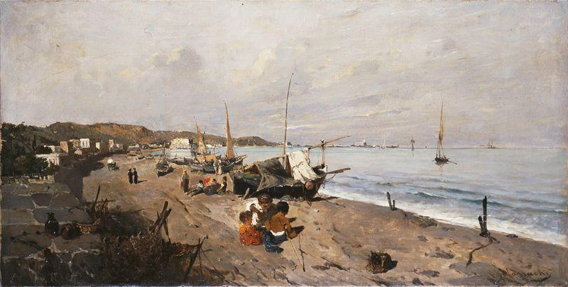 Boats and Children on the Beach - Konstantinos Volanakis