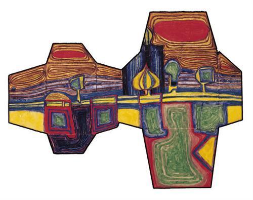 583 Two Envelopes on a Long Voyage - Friedensreich Hundertwasser