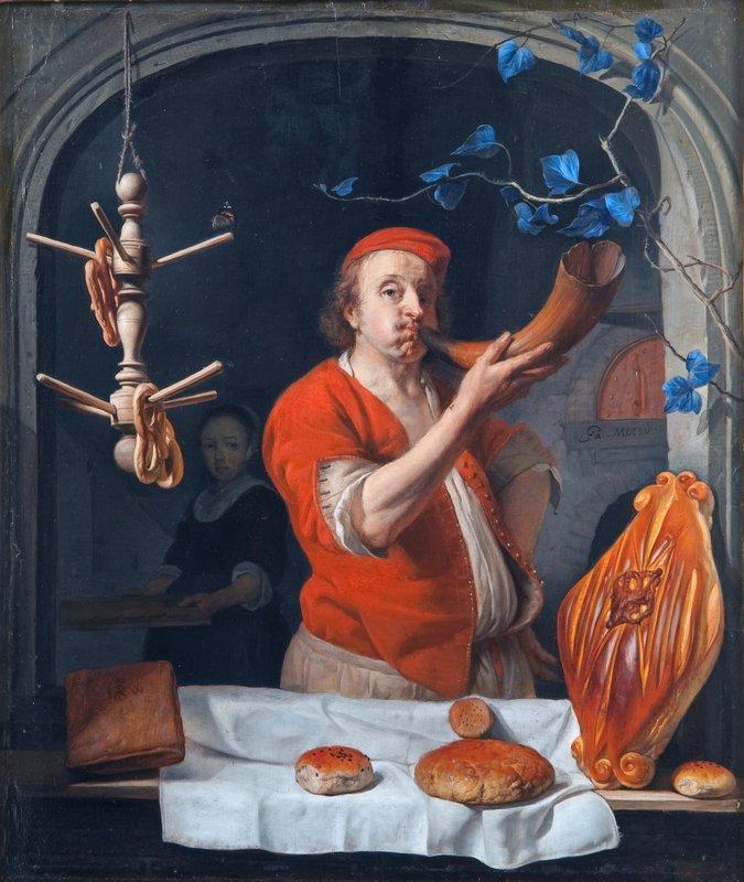A Baker Blowing his Horn - Gabriel Metsu