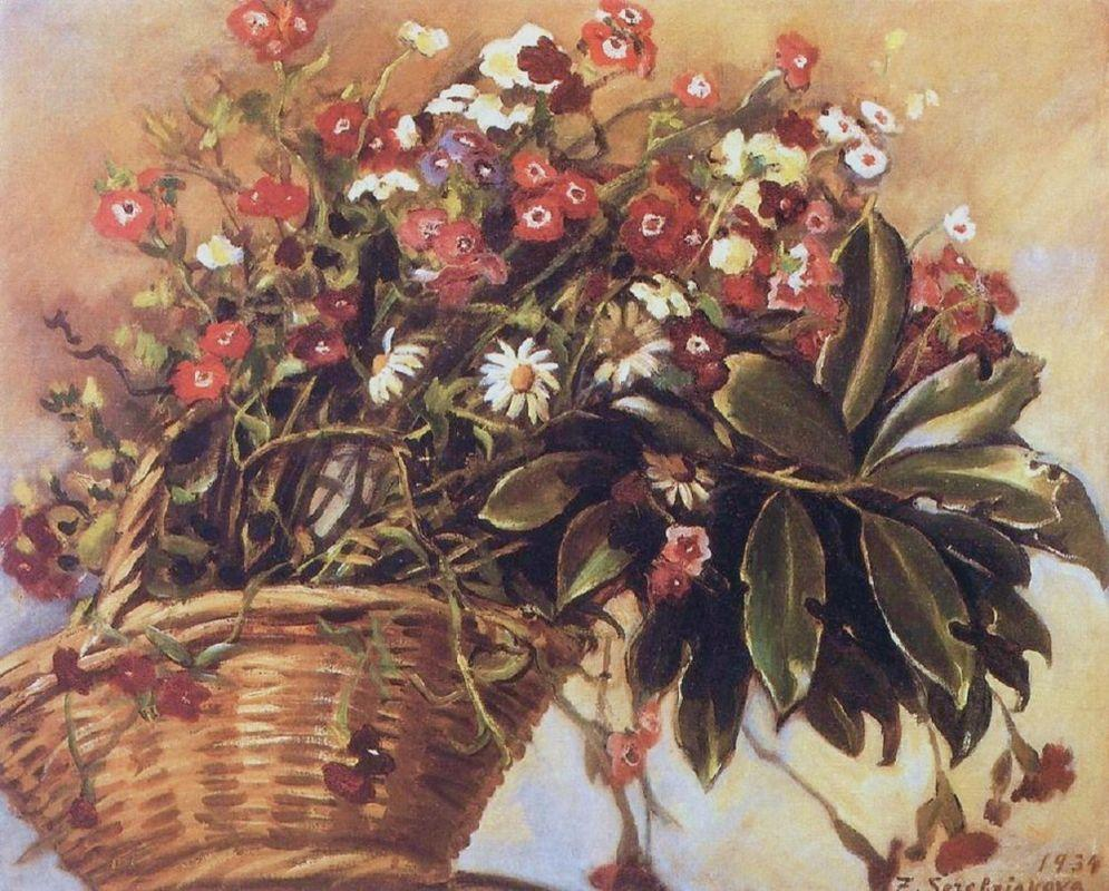 A basket with flowers - Zinaida Serebriakova