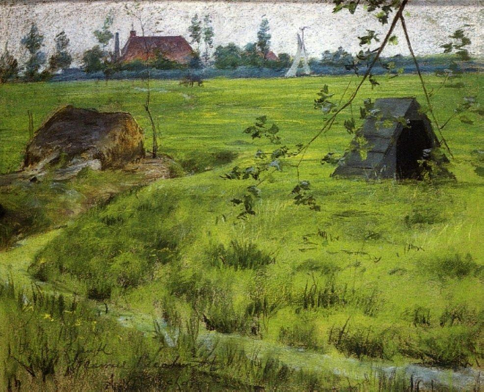 A Bit of Holland Meadows (aka A Bit of Green in Holland) - William Merritt Chase