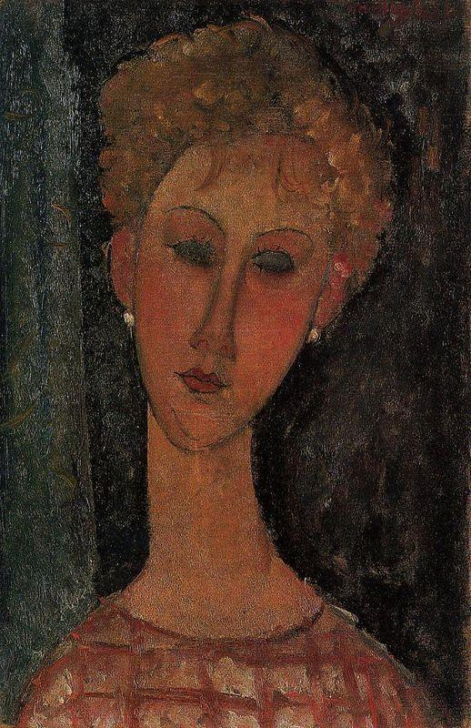 A Blond Wearing Earrings - Amedeo Modigliani