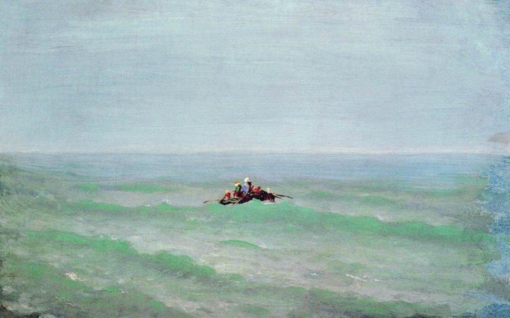 A boat in the sea. Crimea - Arkhip Kuindzhi