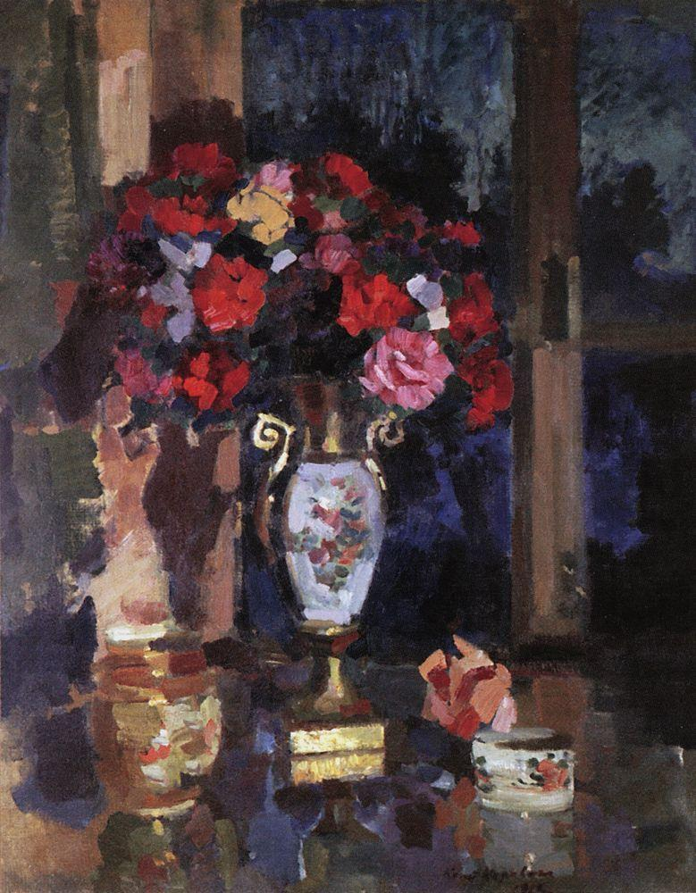 A bouquet of paper roses  - Konstantin Korovin