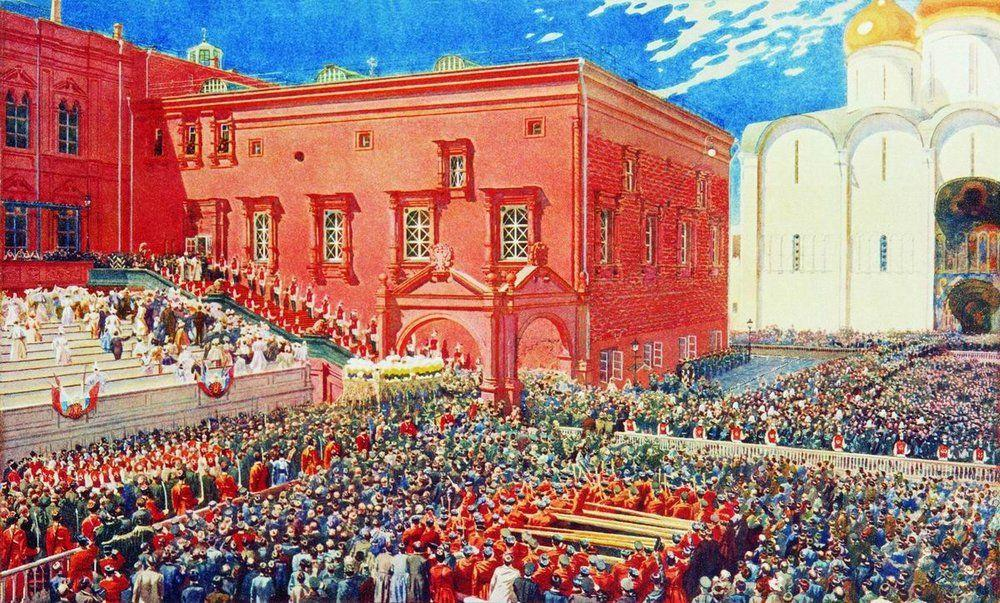 A bow with a red porch. Illustration for the coronation album - Andrei Ryabushkin