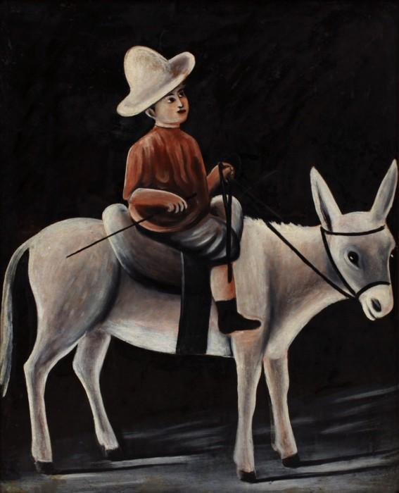 A boy on a donkey - Niko Pirosmani