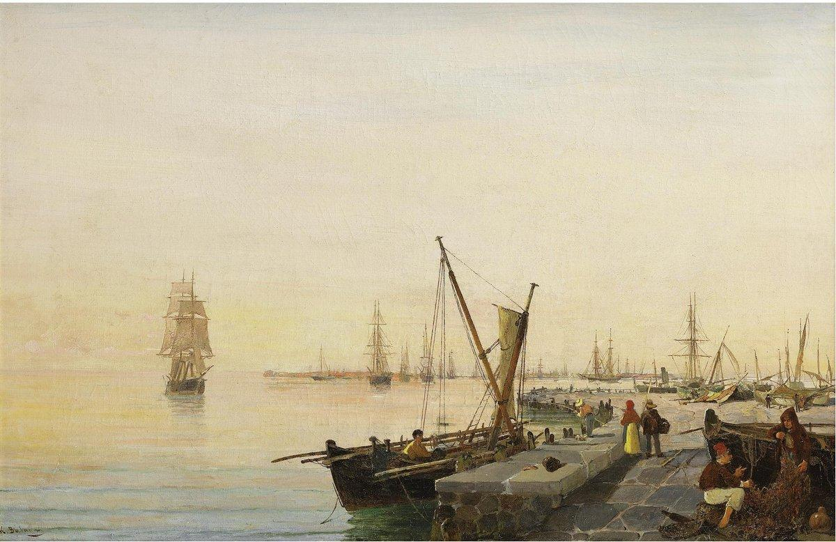A busy harbour - Konstantinos Volanakis
