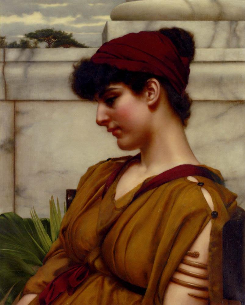 A Classical Beauty In Profile - John William Godward