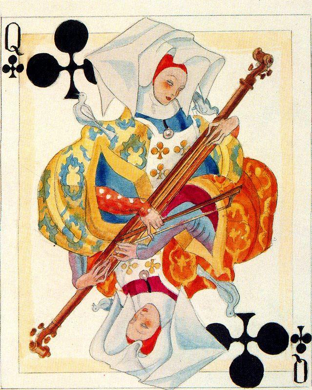 A color sketch of a card. Heraclius Fournier. - Carlos Saenz de Tejada