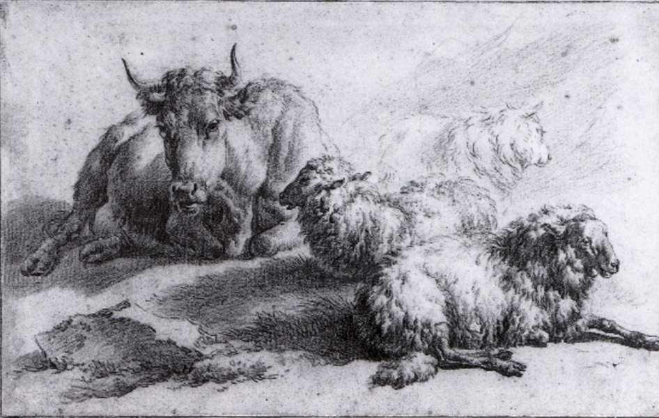 A Cow and Three Sheep - Adriaen van de Velde