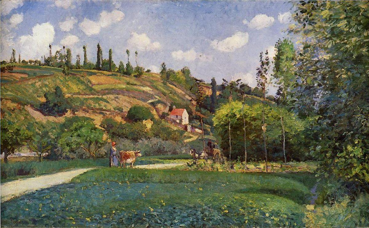 A Cowherd on the Route de Chou, Pontoise - Camille Pissarro