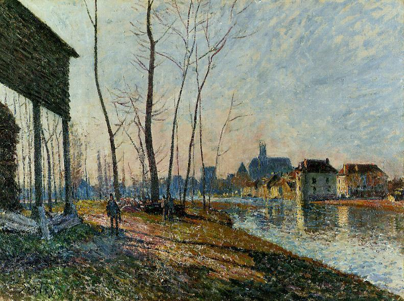 A February Morning at Moret sur Loing - Alfred Sisley