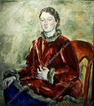 A girl in a velvet coat - Pyotr Konchalovsky