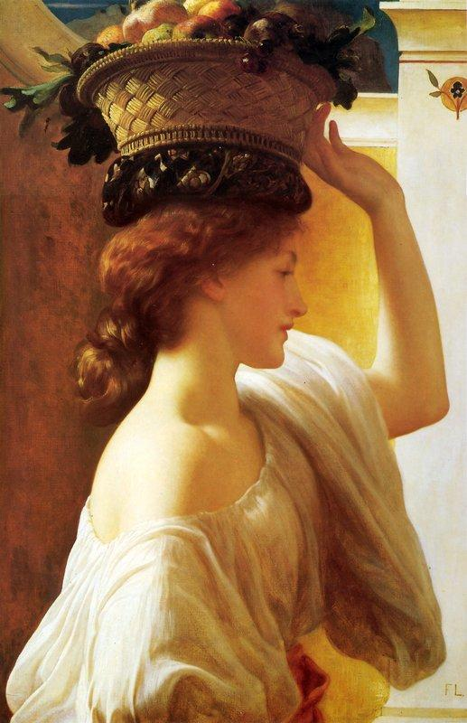 A Girl with a Basket of Fruit - Frederic Leighton