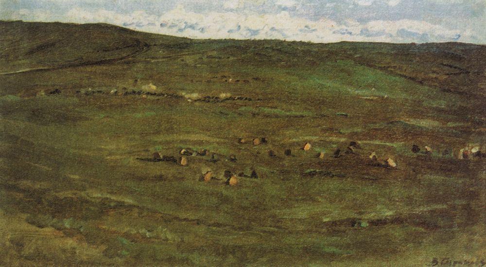 A herd of horses in Baraba steppes - Vasily Surikov