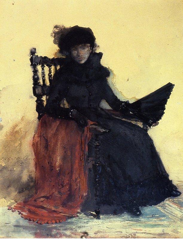 A Lady in Black (aka The Red Shawl) - William Merritt Chase