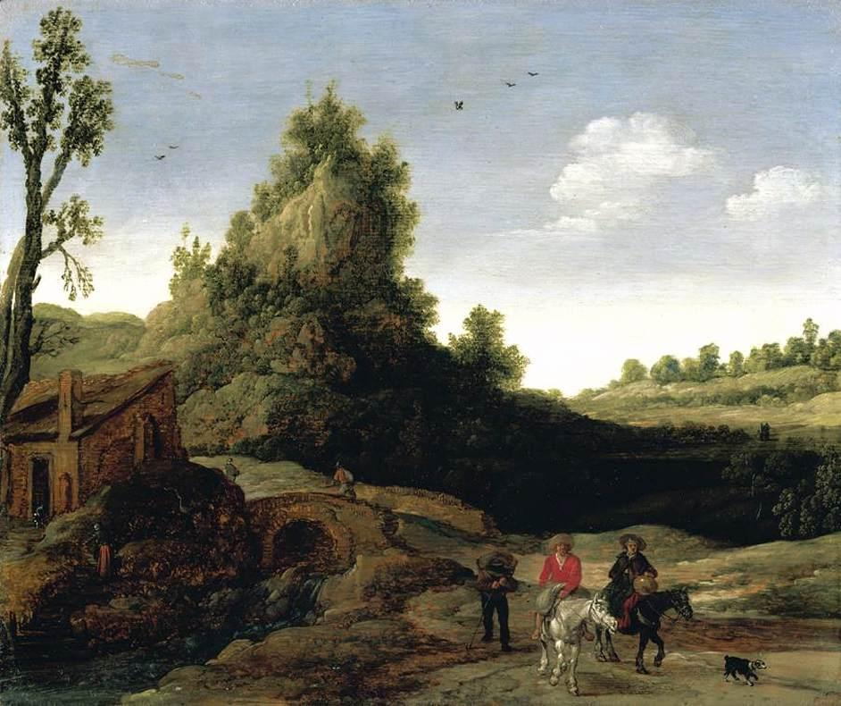 A landscape with travellers crossing a bridge before a small dwelling - Esaias van de Velde