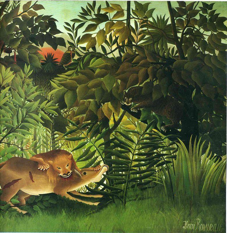 A Lion Devouring its Prey - Henri Rousseau