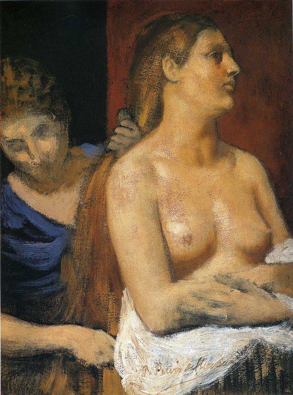 A Maid Combing a Woman's Hair - Pierre Puvis de Chavannes