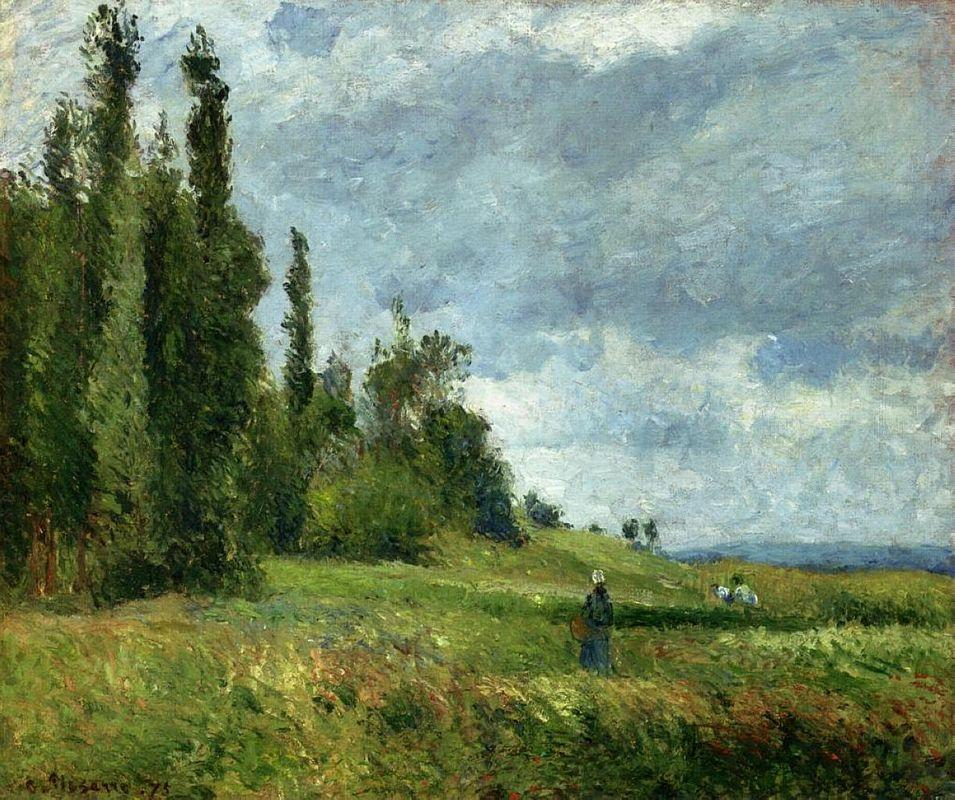 A part of Groettes, Pontoise, Gray Weather - Camille Pissarro