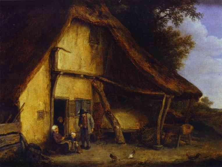 A Peasant Family Outside a Cottage - Adriaen van Ostade