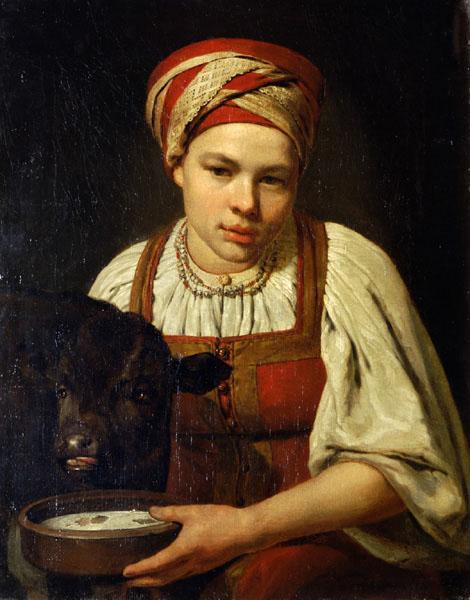 A Peasant Girl with a Calf - Alexey Venetsianov