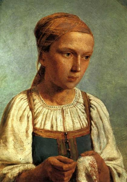 A Peasant Girl with  Embroidery - Alexey Venetsianov