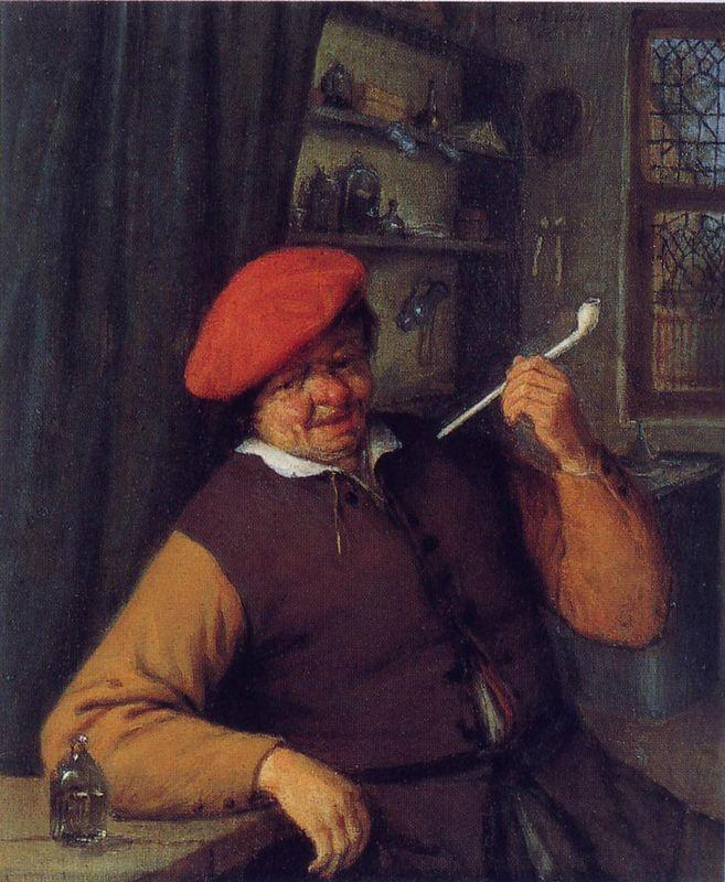 A Peasant in a Red Beret Smoking a Pipe - Adriaen van Ostade