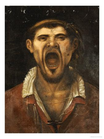 A Peasant Man, Head And Shoulders, Shouting - Agostino Carracci