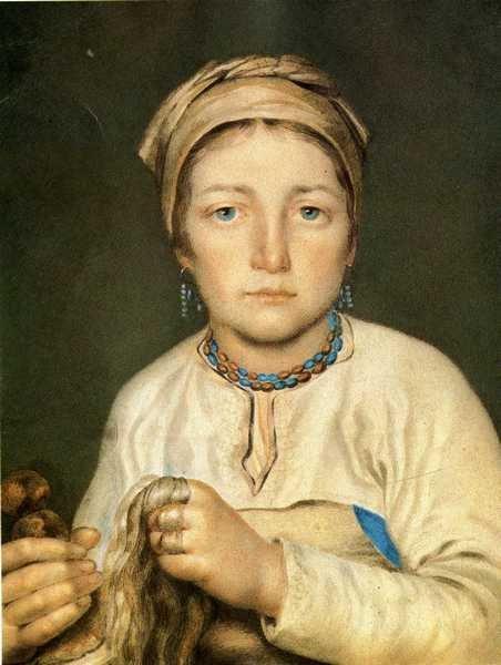 A Peasant Woman, Combing Flax (Anisia) - Alexey Venetsianov