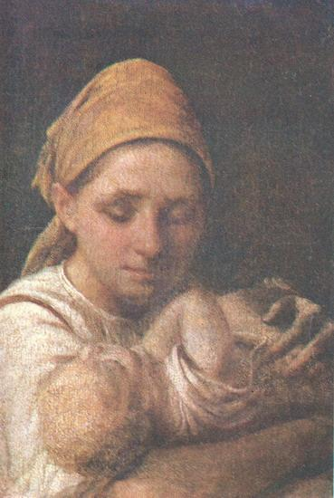 A Peasant Woman with a Child - Alexey Venetsianov