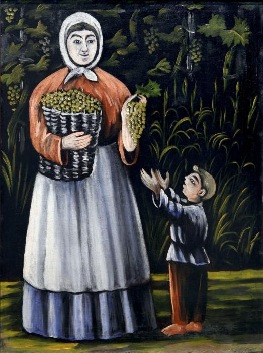 Peasant woman with boy - Niko Pirosmani
