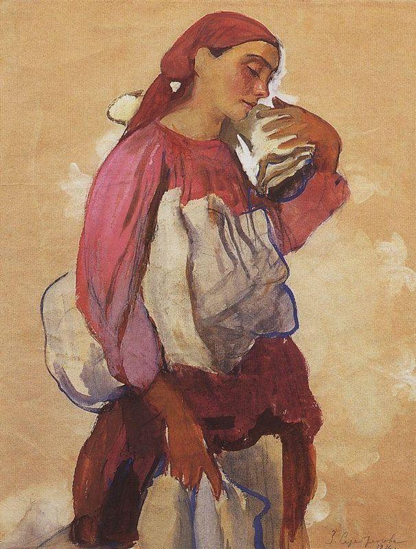 A peasant woman with rolls of canvas on her shoulder and in her hands - Zinaida Serebriakova