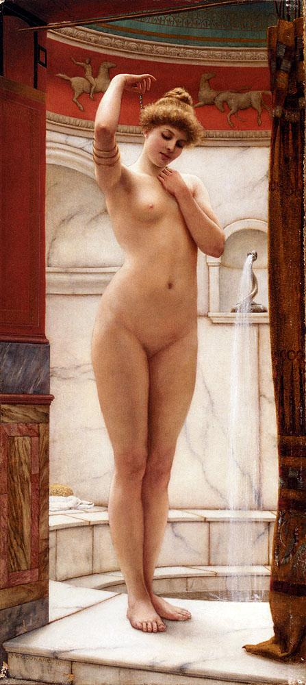 A Pompeian Bath - John William Godward