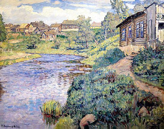 A Provincial Town on a River - Nikolay Bogdanov-Belsky