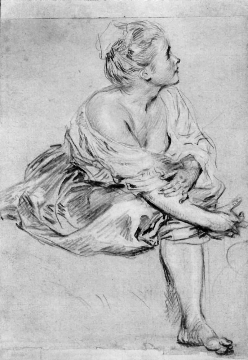 A Seated Woman - Antoine Watteau
