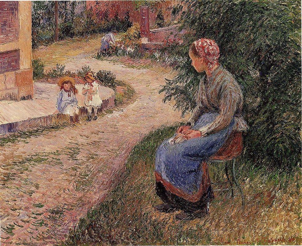 A Servant Seated in the Garden at Eragny - Camille Pissarro