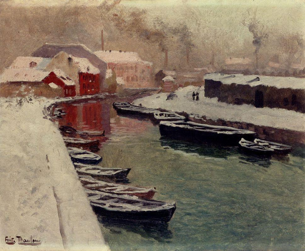 A Snowy Harbor View - Frits Thaulow