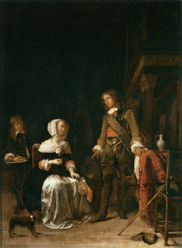 A Soldier Visiting a Young Lady - Gabriel Metsu