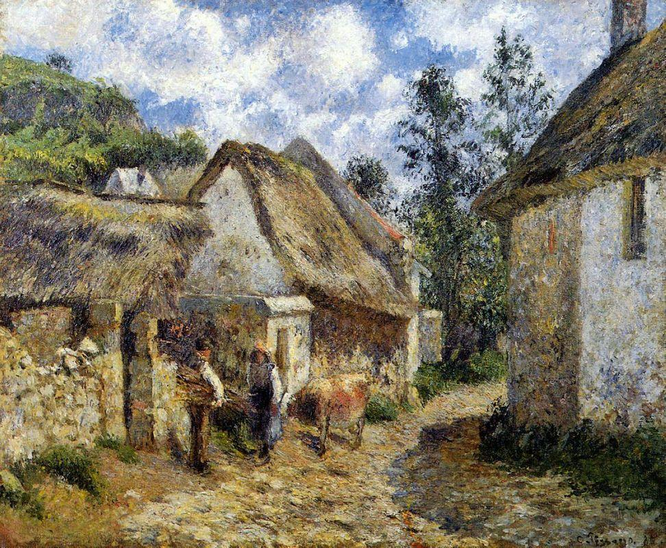 A Street in Auvers (Thatched Cottage and Cow) - Camille Pissarro