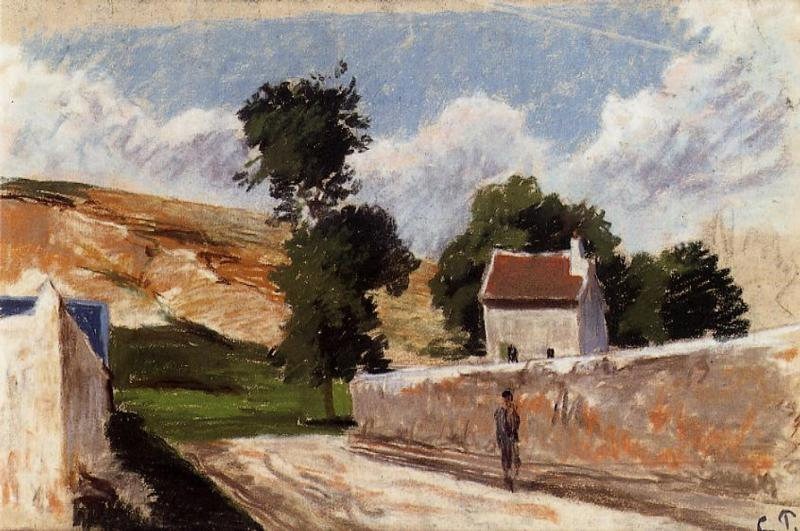 A Street in l'Hermitage, Pontoise - Camille Pissarro