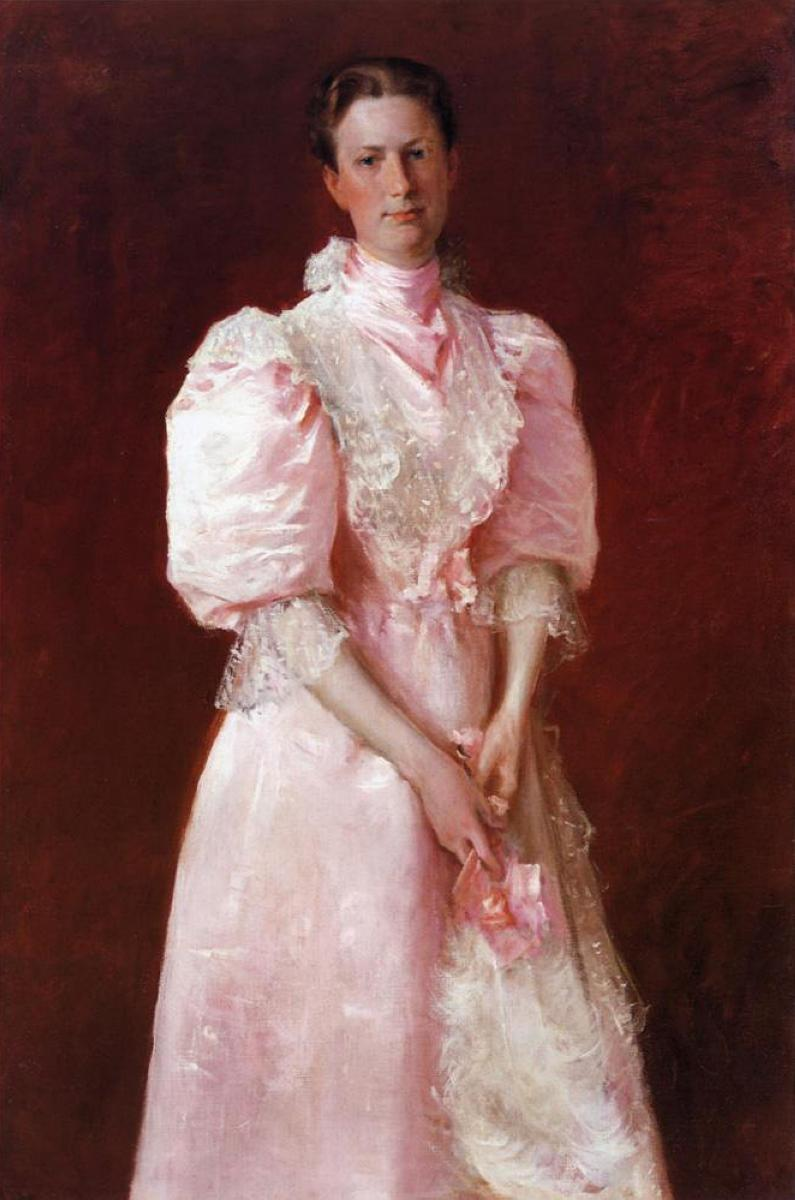A Study in Pink (Portrait of Mrs. Robert P. McDougal) - William Merritt Chase