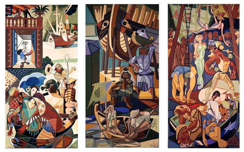 A Sunday in Lisbon, tapestry - Jose de Almada-Negreiros