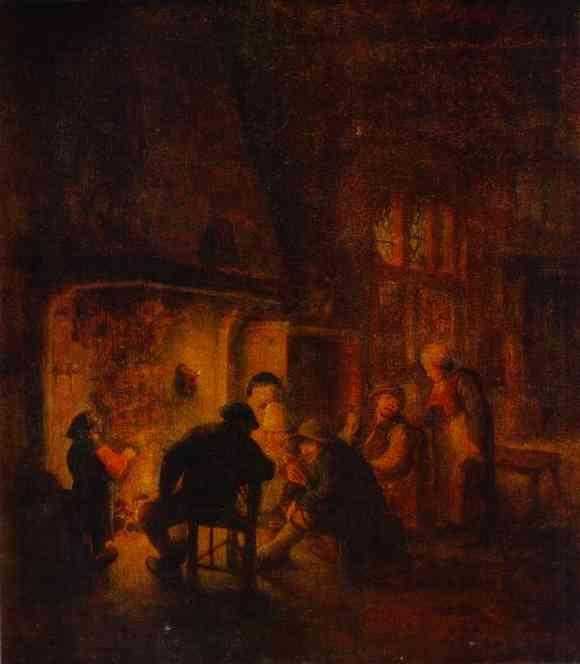 A Talk at Fireplace - Adriaen van Ostade