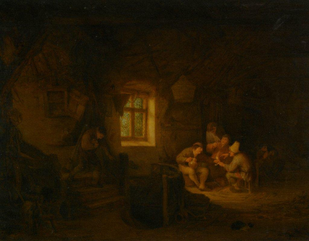 A Tavern Interior with Peasants Drinking Beneath a Window - Adriaen van Ostade