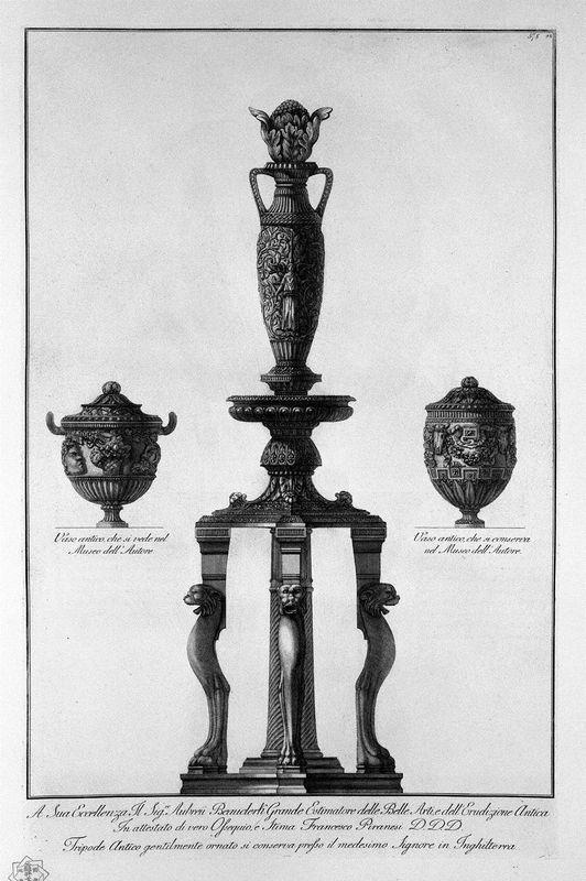 A tripod and two vessels - Giovanni Battista Piranesi
