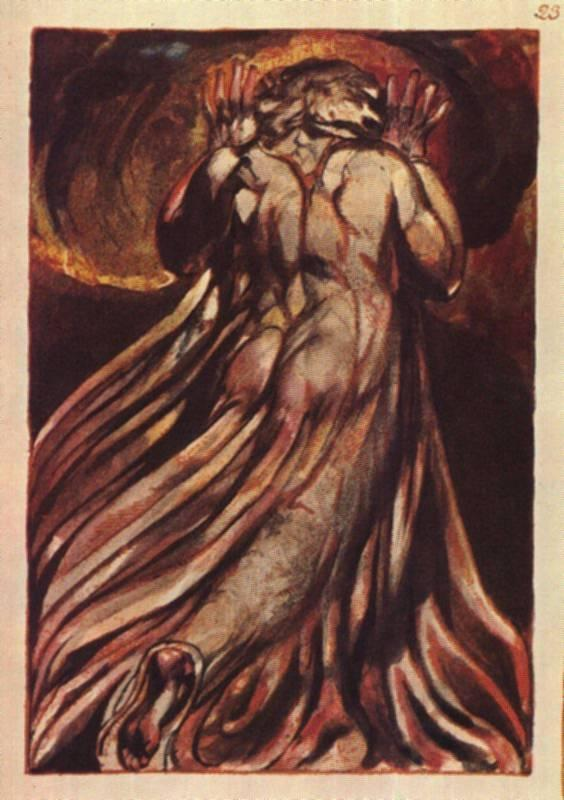 A white haired man in a long, pale robe who flees from us with his hands raised - William Blake