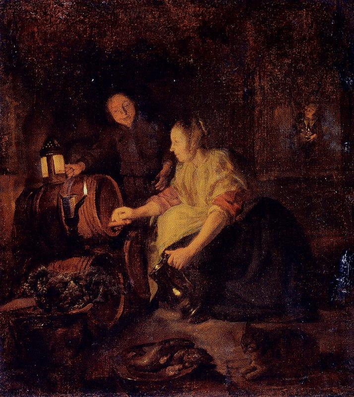 A Woman Drawing Wine from a Barrel - Gabriel Metsu