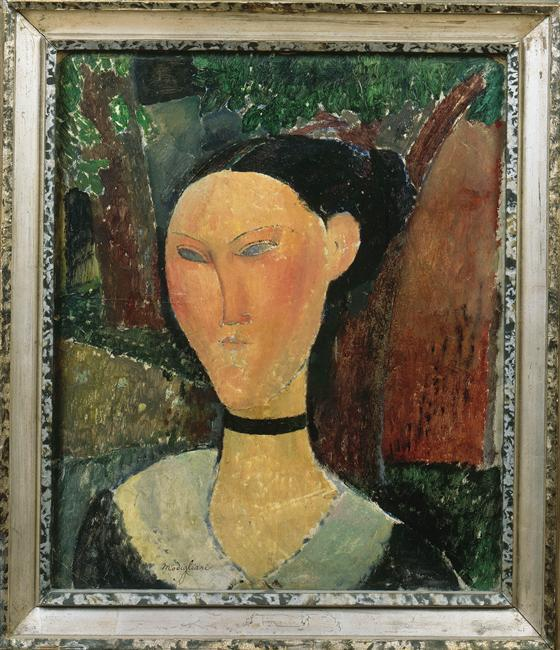 A woman with velvet ribbon - Amedeo Modigliani