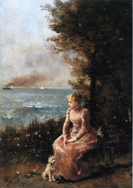 A Young Girl Seated by a Tree - Alfred Stevens